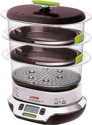 Seb VitaCuisine Compact Cuiseur vapeur, 3 paniers vapeur, Sans BPA, 2 plateaux de cuisson, Verrines en verre, Support...
