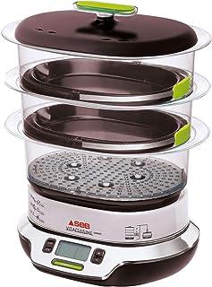 Seb VitaCuisine Compact Cuiseur vapeur, 3 paniers vapeur, Sans BPA, 2 plateaux de cuisson, Verrines en verre, Support à œu...