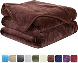 EASELAND Soft King Size Summer Blanket All Season Warm Microplush Lightweight Thermal Fleece Blankets for Couch Bed Sofa,90x108 Inches,Chocolate