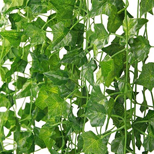 Martha & Ivan - Guirnalda de hiedra artificial para decoración de bodas, fiestas, jardín y hogar, plástico, Paquete de 14 hiedra, 14 Pack Ivy