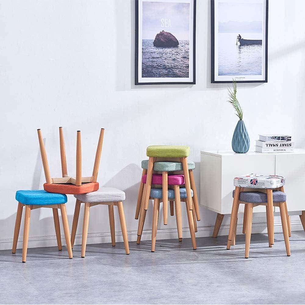 LJFYXZ Chaise Salle A Manger Définir Le Style en Bois Coussin en Tissu Cuisine Salle à Manger Jambes en métal Robustes de Style en Bois Fauteuils Rétro (Color : Blue) British Wind