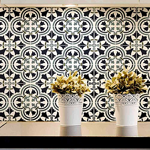 Augusta Tile Stencil - Portuguese Tile Stencils - DIY Faux Tiles - Reusable Stencils for Easy and Fun DIY Home Decor (Large)