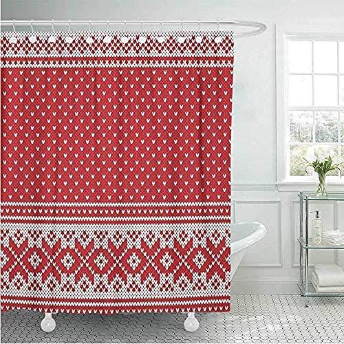 Badkamer gordijn douchegordijnen douchegordijn douchegordijn rood Fair jacquard wol breien patroon Isle trui Abstract Kerstmis badkamer Decor 180 * 200Cm A