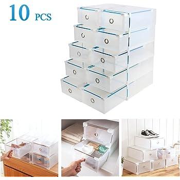 Vinteky® 10x Cajas Almacenaje Plegable de plástico Cajón Organizador Transparente envase de la Caja para Zapatos Apilable Plegable Contenedor.: Amazon.es: Hogar