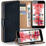 MoEx Premium Book-Hülle Handytasche passend für Wiko Lenny 2 | Handyhülle mit Kartenfach & Ständer - 360 Grad Schutz Handy Tasche, Schwarz