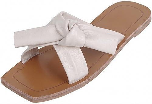 DHG Sandales Femmes Chaussures Plates D'été Bow Loisirs Paresseux Doux Chaussures de Plage Porter des Pantoufles,Blanc,40
