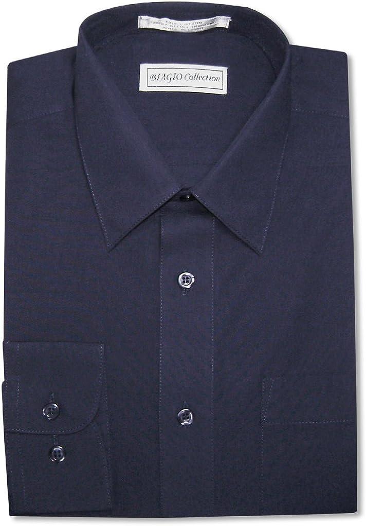 Biagio Men's 100% Cotton Solid Navy Con Dress shop Color Blue Manufacturer regenerated product Shirt w