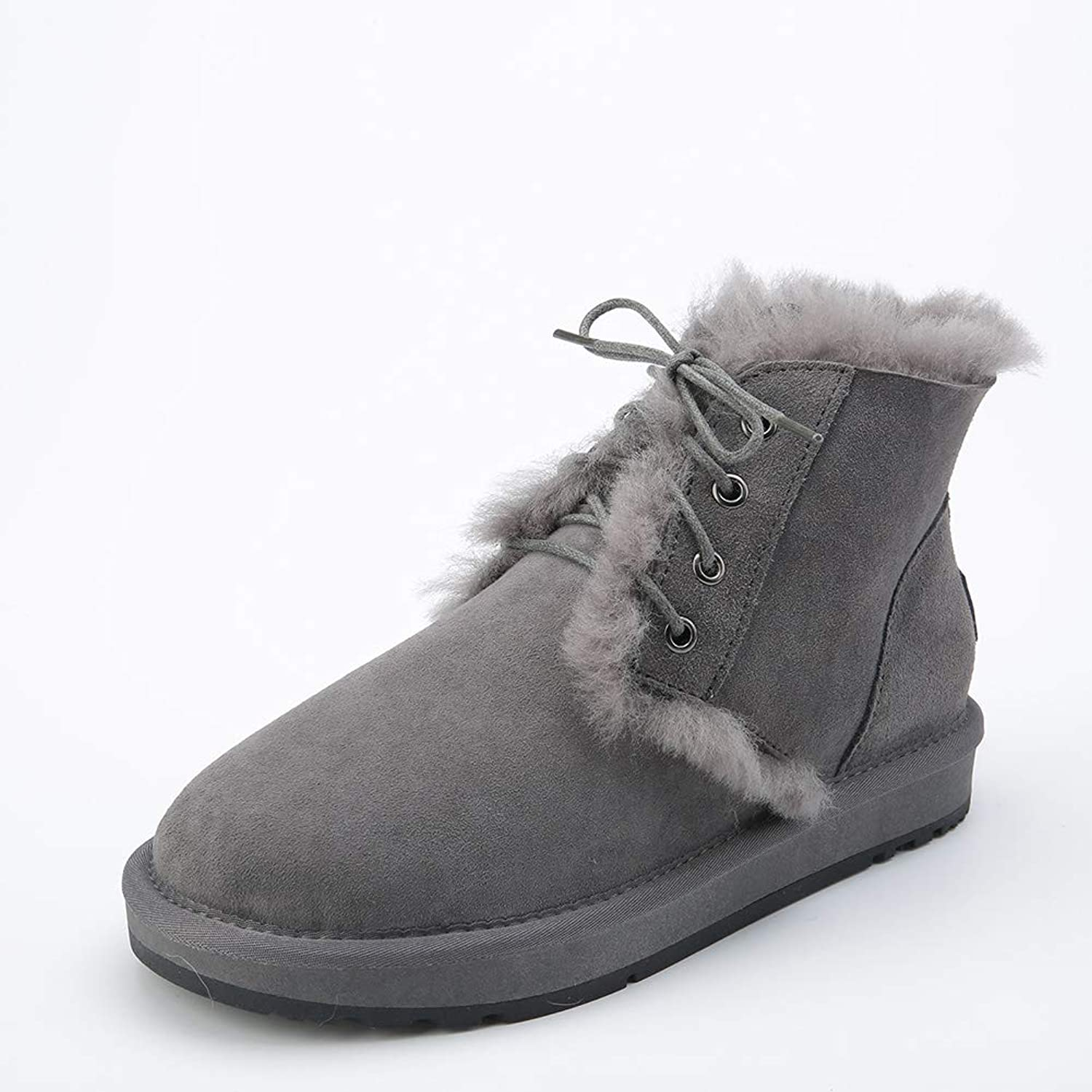 INOE CREATE GLAMOUR Fashion Style Real Sheepskin Leather Fur Lined Women Short Ankle Winter Snow Boots Lace Up Casual Winter shoes