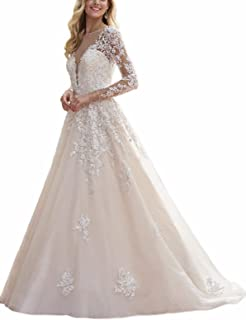 Women's Illusion Long Sleeve V-Neck Lace Bridal Gowns Wedding Dresses for Bride 2019