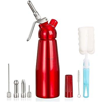 Amazy Sahnespender inkl. 5 Edelstahl Tüllen + 2 Reinigungsbürsten – Profi Sahnesyphon aus Aluminium für die Zubereitung von Schlagsahne, Creme, Mousse, Espuma & Co. (Rot | 500 ml)