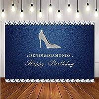 Youtube写真スタジオ デニムディアマンテハイヒールの誕生日パーティー ブースの背景の小道具 ブルーフラッシュ ビデオ背景折りたたみ式 モダンなシンプルさ