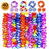 Ginmic Hawaiian Leis, Luau Party Favors, 40Pcs Tropical Hawaiian Party Necklace, Headbands and Wristbands, for Kids Adults Party Supplies, Summer Beach Vacation, Theme Party Decorations, Birthday