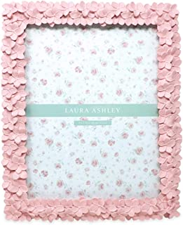 Laura Ashley 8x10 Pink Flower Textured Hand-Crafted Resin Picture Frame with Easel & Hook for Tabletop & Wall Display, Decorative Floral Design Home Décor, Photo Gallery, Art, More (8x10, Pink)