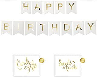 Andaz Press Shiny Gold Foil Paper Pennant Hanging Banner with Gold Party Signs, Happy Birthday White, Pre-Strung, No Assembly Required, 1-Set, Milestone 50th, 55th, 60th, 65th, 70th