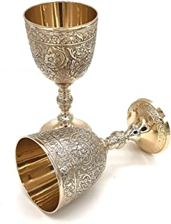 Vintage Handmade Brass King's Royal Chalice Embossed Cup 6 inch Goblet (PACK OF 1)