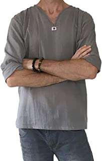 تي شيرت صيفي للرجال 100% قطن هيبي قميص برقبة على شكل حرف V بيتش يوغا توب