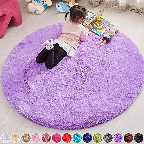 PAGISOFE 5x5 Area Rug Round Purple Rug Circle Rugs for Kids Bedroom Fluffy Carpets and Shaggy Rugs Small Teepee Furry Mat Comfy Reading Rug Circular Rug 5x5 Rugs for Girls Baby Room
