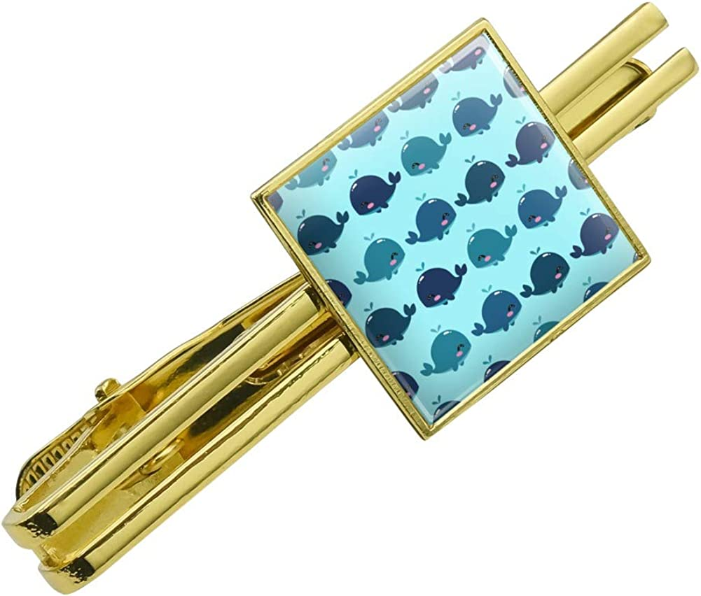 GRAPHICS & MORE Cute Kawaii Whales Pattern Square Tie Bar Clip Clasp Tack Gold Color