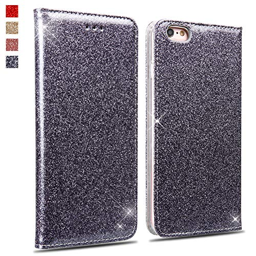 OKZone Funda iPhone 6S Plus/iPhone 6 Plus, Cárcasa Glitter,Case de Estilo Billetera Libro de Cuero,PU Leather con TPU Case Interna Suave para Apple iPhone 6S Plus/iPhone 6 Plus (Gris Plateado)