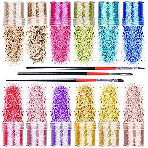 mreechan Glitzer Puder Set, Flash-Pulver Pailletten-Dekoration, es hat 12 Farben, kommt mit...