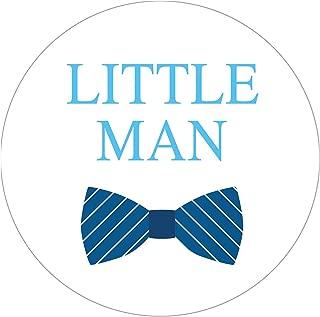 MAGJUCHE Bowtie Little Man Stickers, Blue Boy Baby Shower Birthday Favor Sticker Labels, 2 Inch, 40-Pack