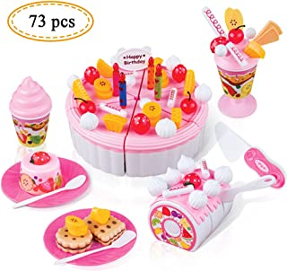 Candice's Sweety Birthday Cake Play Food Set 73Pcs DIY Cutting Pretend Play Birthday Party Fruit Cake Kitchen Toy for Children Boys Girls Education Toys