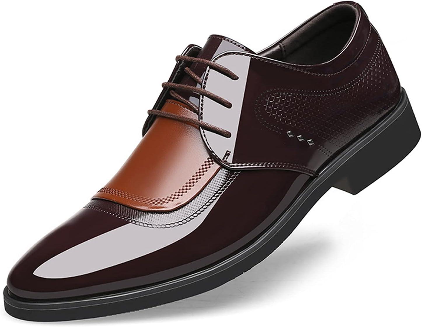 Men's Vegan Leather Oxfords Wingtips Pull Tap Lace Up Cap Toe Shoe Slip Resistant Formal (Color : Brown, Size : 44 EU)