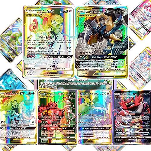 LSST Carte pour Pokémon, 100 Cartes GX Mega Flash Trading Puzzle Jeu de Cartes Amusant (44tag+56gx)