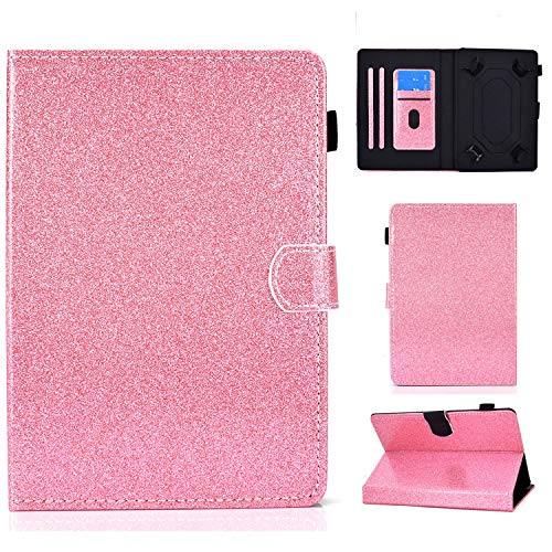 Ancase Tablet Case for Universal 9.5-10.5 Inch Leather Design Case Samsung Huawei Apple Lenovo Tablet 9.6 9.7 10.1 inch Protective Cover with Card Slots - Pink