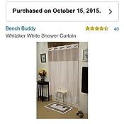 BENCH BUDDY HOOKLESS SHOWER CURTAIN WHITAKER WHITE