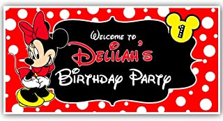Minnie Mouse Red Birthday Banner Personalized Party Decoration