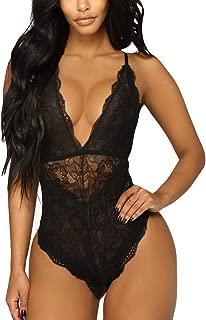 Women Sexy Lingerie Deep V Underwear Sling Nightwear Lace High Waisted Racy Temptation Bodysuit