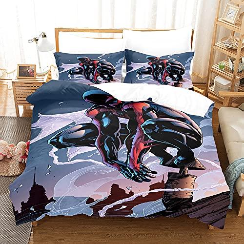 AZJMPKS Spiderman - Juego de ropa de cama infantil, diseño de Spiderman, incluye funda de edredón y funda de almohada, impresión digital 3D, ropa de cama para niños (A12,220 x 240 cm + 75 x 50 cm x 2)