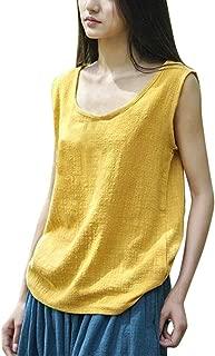 Women Vintage Sleeveless Tank Top Cotton Linen Casual Blouse Loose Crop Tops Vests