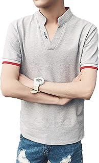 [ココチエ] ポロシャツ ぽろしゃつ メンズ 夏 半袖 Tシャツ スリム インナーシャツ ボタン無し Vネック 白 かっこいい おしゃれ 涼しい