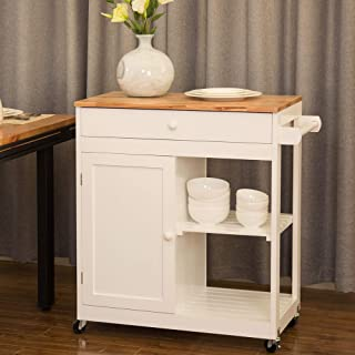 Glitzhome Rolling Kitchen Island Cart Solid Wooden Top and Shelf Storage Table Multi-Function