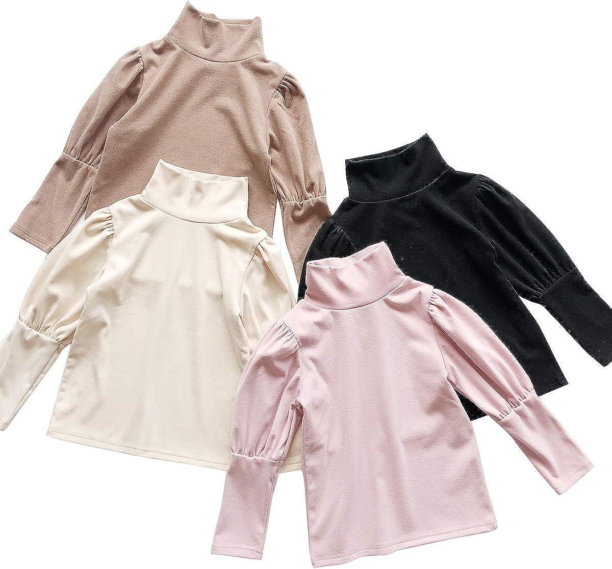 Toddler Kids Baby Girl Turtleneck Puff Long Sleeve Shirts Blouse