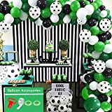 Ballon Arch Garland Kit, Soccer Party Balloons Pack with Green White Black Latex Balloon Soccer Balloons for Birthday Jungle Theme Party Decorations, Baby Shower, Anniversary, Weddings