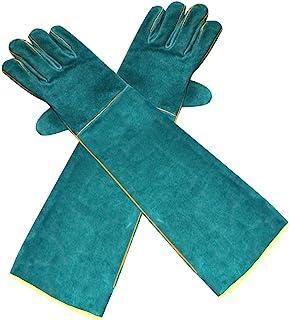Decdeal Luvas de Proteção Contra Mordidas de Animais Domésticos - Luvas de Segurança Anti-Mordida de Couro Verde Ultra Lon...