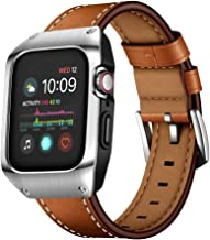 EloBeth 44mm Band Case Compatible with Apple Watch Band 44mm Series 5/4, Genuine Leather Bands & Metal Protective Cover for iWatch Series 4/5 44mm (Brown/Silver)