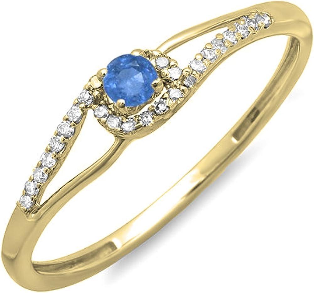 Dazzlingrock Collection 18K Gold Round Cut Blue Sapphire & White Diamond Ladies Engagement Bridal Promise Ring