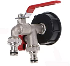 TOP-MAX IBC Water Tank Connector IBC Tank Adapter S60X6 Connector to Garden Tap Coarse Thread Hose Fitting(Thick Wire Double Outlet 4 Points Faucet)