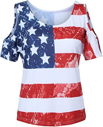 f94375de88c Tantisy ♧↭♧ Women s Plus Size Star and Stripes Tops ✿ Summer Casual Off  Shoulder
