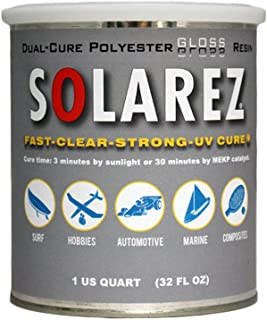 SOLAREZ UV Cure Polyester Gloss Resin, for Custom Woodworking, Pool Cues, Guitar Making, Counter Tops, Bar Tops, Wood Tables (Quart)