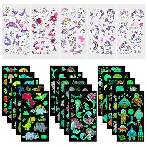 Temporary Tattoos for Kids - 199pcs Waterproof Mixed Style Cartoon Fake Tattoo, Glow in The Dark Unicorn Mermaid Outspace Dinosaur Tattoo, Boys Girls Party Supplies Favor