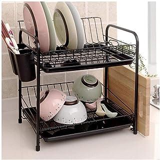 Organisateur de Rangement étagère à Vaisselle, Cuisine ménage Vaisselle Stockage Drain Couteau Porte Baguettes étagère uni...