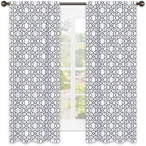 Cortina opaca geométrica, patrón asanoha con líneas entrelazadas, diseño tradicional de hoja de cáñamo japonés, juego de dos paneles para cortina, ancho 72 x largo 72 pulgadas, gris y blanco