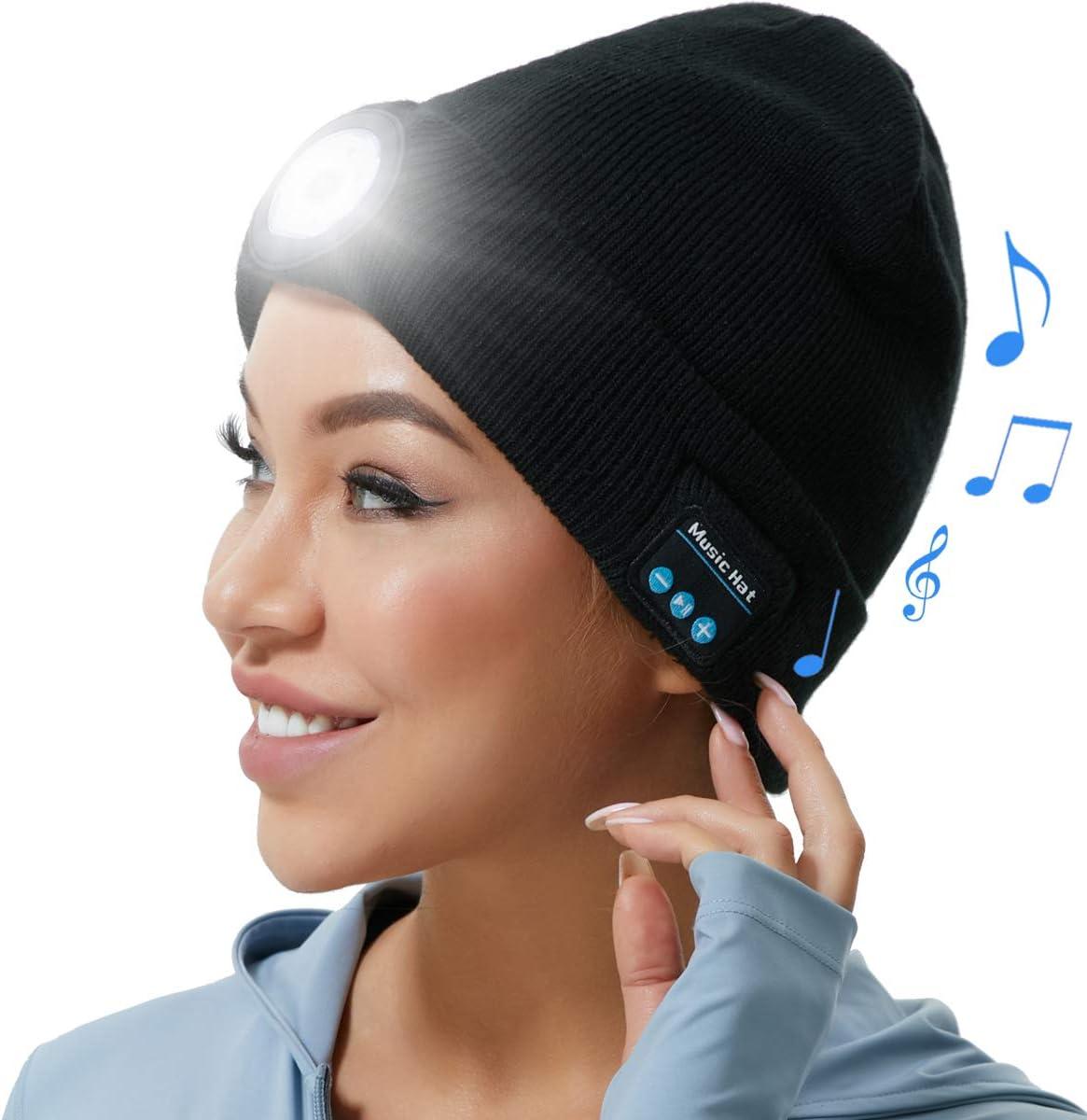 Rechargeable Outdoor Running Flashlight hat for Men Headlamp Bluetooth Beanie Hat for Men Women Winter Music Sprots LED Lights Hat Women Teen Boys Girls