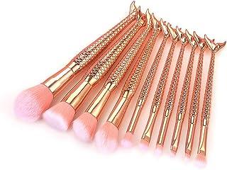YZiMeng 10 pcs Rose Gold Mermaid Glitter Makeup Brush Set for Girls, Synthetic Hair Cosmetic Foundation Blending Blush Eyeliner Facial Powder Brushes (Rose Gold)