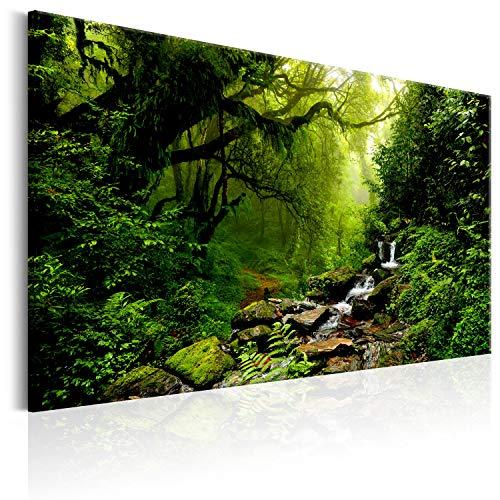 murando - Bilder Wald Bach 120x80 cm Vlies Leinwandbild 1 TLG Kunstdruck modern Wandbilder XXL Wanddekoration Design Wand Bild - Natur Landschaft Bäume Wasserfall c-B-0234-b-c
